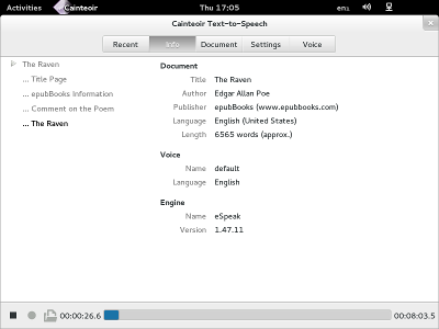 The Gnome/GTK interface to Cainteoir Text-to-Speech reading The Raven by Edgar Allen Poe.